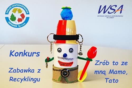 """plakat reklamujący konkurs """"Zabawka z recyklingu"""""""