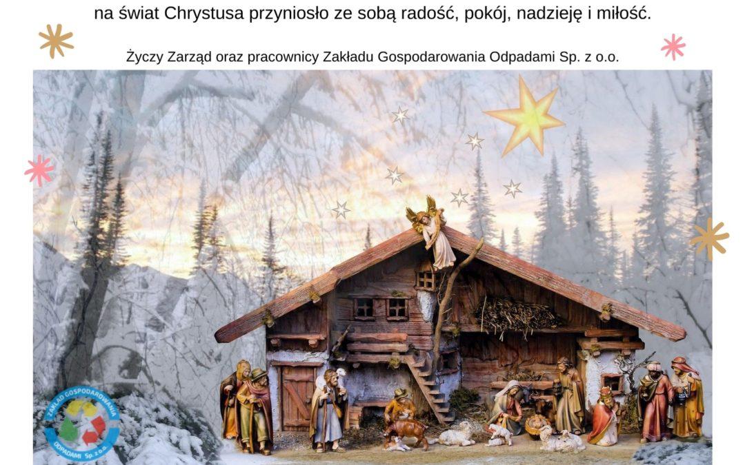 Kartka z życzeniami na Święta Bożego Narodzenia przedstawiająca szopkę