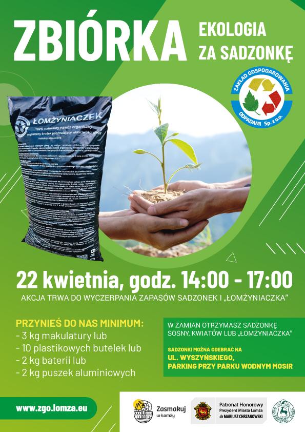 ZGO Plakat ekologia za sadzonkę, na którym przedstawione są szczegóły zbiórki